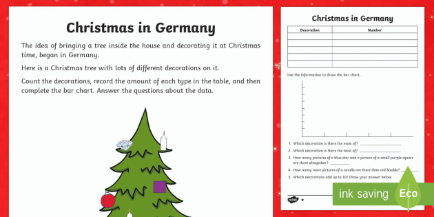 KS1 Christmas in Germany Differentiated Activity Sheets - Christmas, Nativity, Jesus, xmas, Xmas, Father Christmas, Santa, St Nic, Saint Nicholas, traditions,
