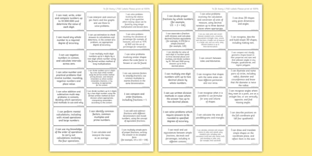 New Curriculum Year 6 Maths Target Stickers - new curriculum, year 6, maths, target, stickers