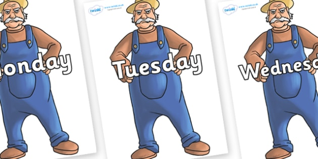 Days of the Week on Angry Farmer - Days of the Week, Weeks poster, week, display, poster, frieze, Days, Day, Monday, Tuesday, Wednesday, Thursday, Friday, Saturday, Sunday