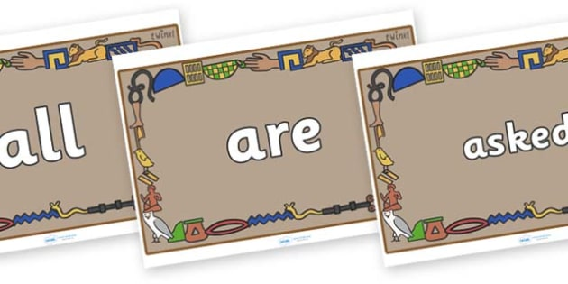 Tricky Words on Egyptian Bricks - Tricky words, DfES Letters and Sounds, Letters and sounds, display, words