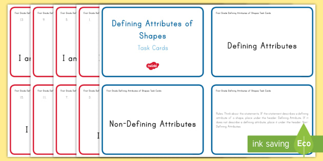 First Grade Defining Attributes Task Cards - Common Core, First Grade, Math, Task Cards, challenge, 2D, shape, describe, properties