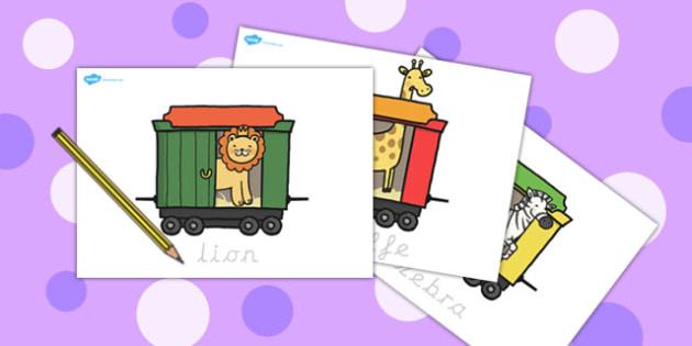 Animal Train Writing Practice Sheets - animal, writing, sheets