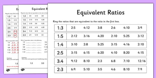 Equivalent Ratios Activity Sheet - equivalent ratios, activity, sheet, equivalent, sheet, worksheet