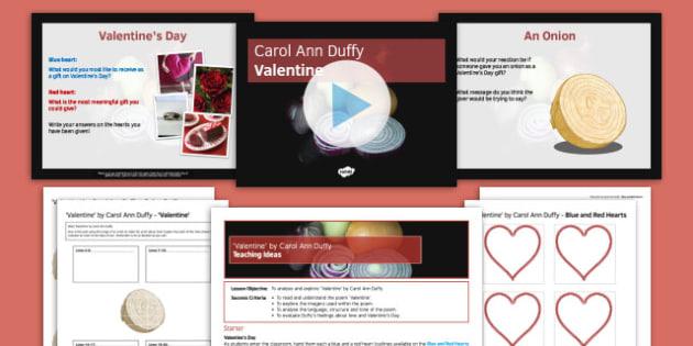Carol Ann Duffy Valentine Pack - Carol Ann Duffy, Valentine, Onion, Analysis, Poetry, Imagery, Tone, Language