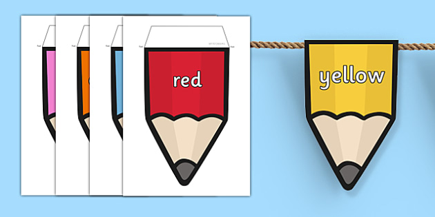 Colours on Pencil Bunting - colours, pencil, bunting, display