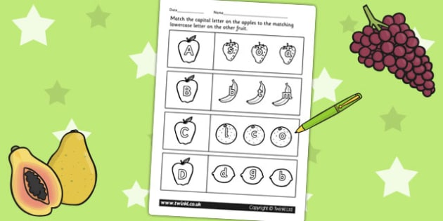 Fruit Themed Capital Letter Matching Worksheet - uppercase, match