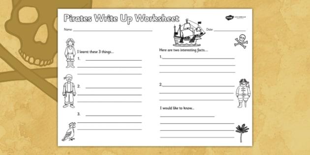 Pirates Write Up Worksheet - writing template, writing aid