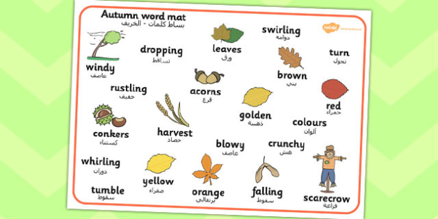 Autumn Word Mat Arabic Translation - arabic, autumn, word mat