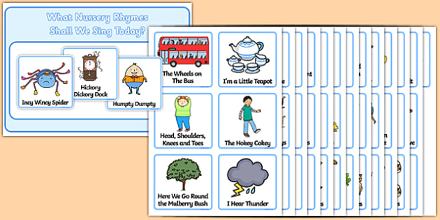 Nursery Rhyme Choosing Cards - Nursery rhyme, choosing cards, humpty dumpty, three blind mice, jack and jill, hickory dickory clock, twinkl twinkl little star