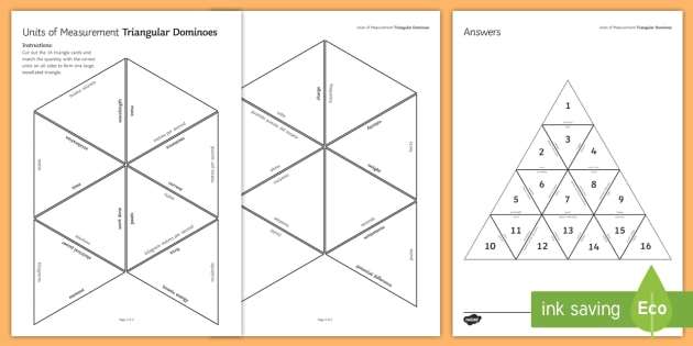 Physics Units of Measurement Tarsia Triangular Dominoes - Tarsia, gcse, physics, units, how science works, pratical skills, investigation, working scientifica, plenary activity