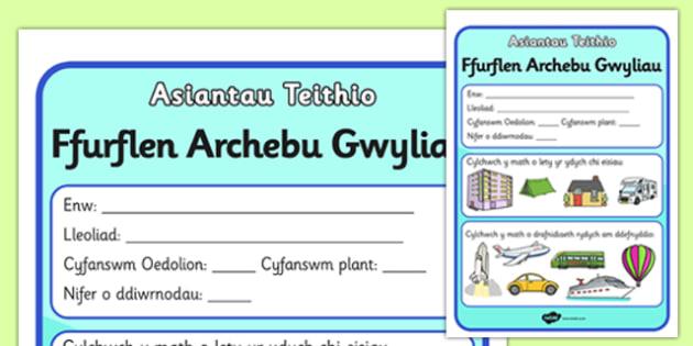 Taflen Archebu Gwyliau Asiantaeth Deithio - roleplay, EAL