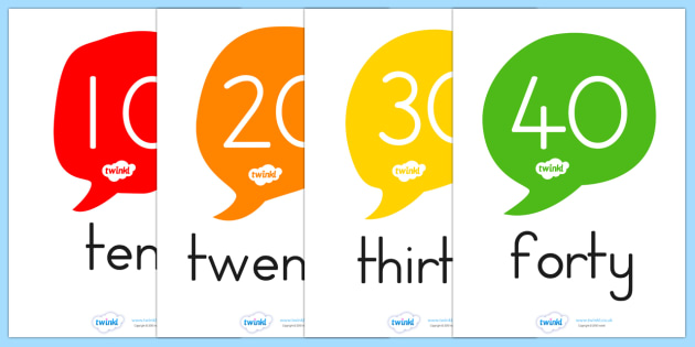Number and Word Posters 10 100 in Tens - number, word, posters