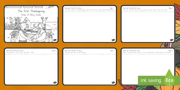The First Thanksgiving Draw It Story Cards - Thanksgiving, Pilgrims, Native Americans, First Thanksgiving
