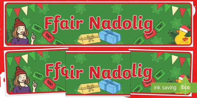 Ffair Nadolig Baner Arddangosfa - Christmas Wales - Welsh Medium,Welsh