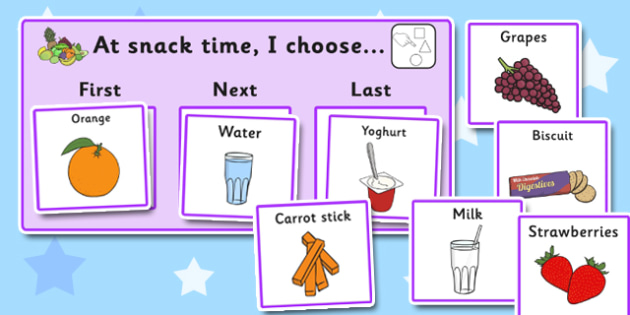 At Snack Time I Choose Choice Cards - snack time, I choose, cards