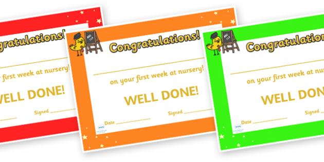 First Week Award Certificates - First week, award, scroll, reward, award, certificate, medal, rewards, school reward