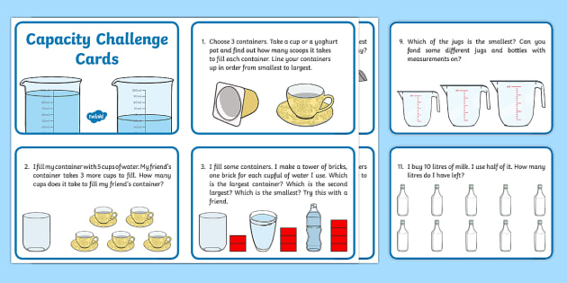 KS1 Capacity Challenge Cards - ks1, capacity, challenge, cards