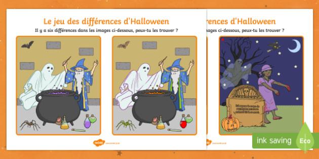 Jeu des différences : Halloween - French