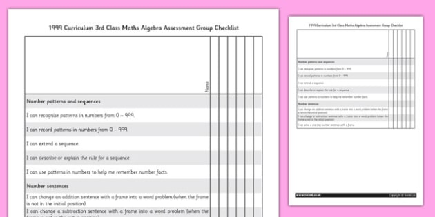 1999 Curriculum 3rd Class Maths Algebra Assessment Group Checklist - roi, gaeilge, maths, curriculum, 1999