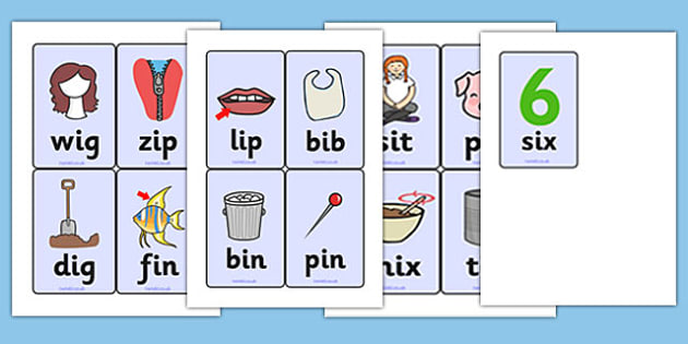 CVC Word Cards (i) - CVC, CVC word, three phoneme words, three sound words, consonant vowel consonant, words, three letter words, letters and sounds, DfES letters and sounds