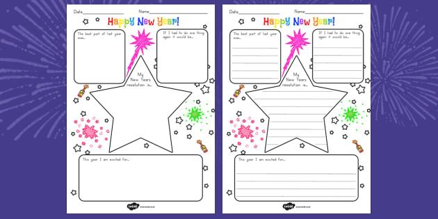 New Year's Resolution Writing Frame - australia, new year, write