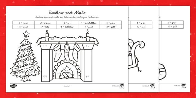 Weihnachtsrechnen Plus und Minus bis 10 Arbeitsblätter