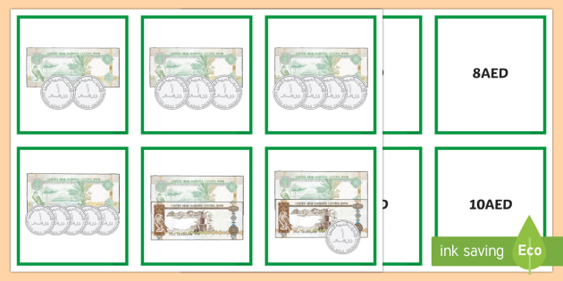 Money Matching Cards to 50AED - UAE Maths Resources, dirhams, uae, united arab emirates, money, currency, coins, notes, arabian.
