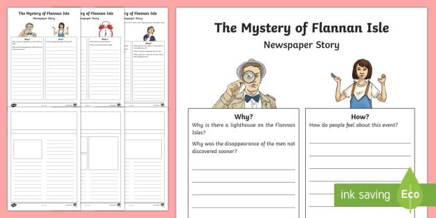 The Mystery of Flannan Isle Newspaper Writing Template-Scottish - CfE Literacy, writing, newspaper, functional, reporting, mystery, creative, imaginative,Scottish