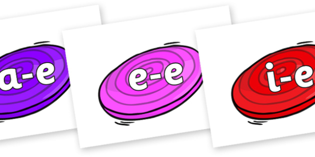 Modifying E Letters on Frisbees - Modifying E, letters, modify, Phase 5, Phase five, alternative spellings for phonemes, DfES letters and Sounds