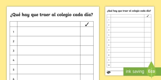 Lista ¿Qué hay que traer al colegio cada día? - lista, deberes, haceres, acordarse, traer