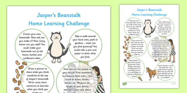 EYFS Home Learning Challenge Sheet Reception FS2 to Support Teaching on Jasper's Beanstalk - EYFS planning, Early years activities, homework activities, growing