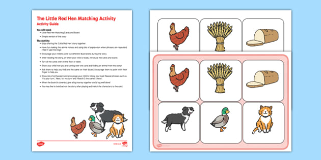 The Little Red Hen Matching Activity Busy Bag Resource Pack for Parents