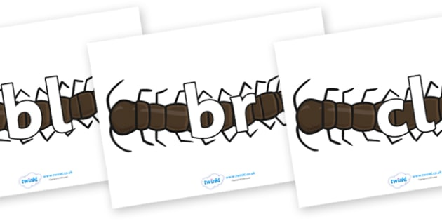 Initial Letter Blends on Centipedes - Initial Letters, initial letter, letter blend, letter blends, consonant, consonants, digraph, trigraph, literacy, alphabet, letters, foundation stage literacy