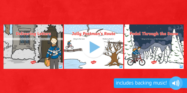 Songs and Rhymes PowerPoint Pack to Support Teaching on The Jolly Christmas Postman