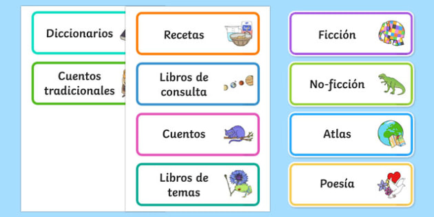 Book Corner Library Labels-Spanish