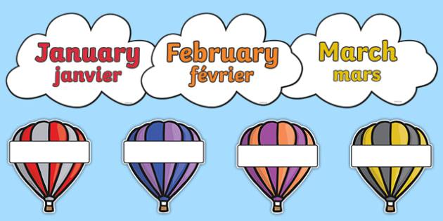 Editable Hot Air Balloon Birthday Display Balloons French Translation - french, birthday, birthday display, editable birthday display, classroom display, classroom management, hot air balloon