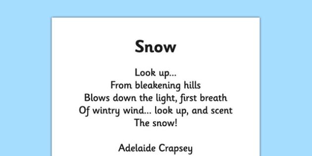 Snow by Adelaide Crapsey Cinquain Poem Print Out -  snow, adelaide crapsey, cinquain, poem, print out