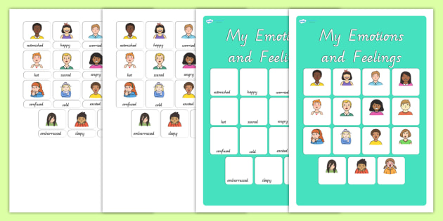 My Emotions and Feelings Vocabulary Matching Mat - ourselves