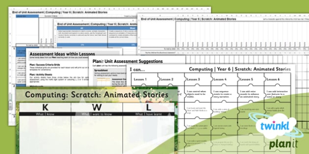 Computing: Scratch Animated Stories Year 6 Unit Assessment Pack