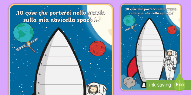 10 cose che porterei nello spazio Esercizio di Scrittura - scrivere, scrittura, spazio, navicella, spaziale, galassia, astronauta, italiano, italian, materiale
