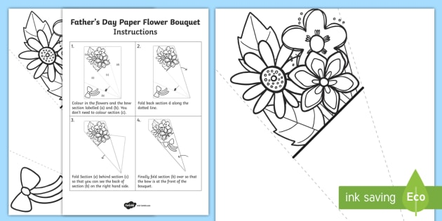 Father's Day Paper Flower Bouquet Colouring Activity - bouquet, Fathers day, paper