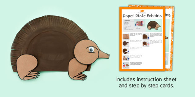 Paper Plate Echidna Craft - australia, paper plate, echidna, craft, animal