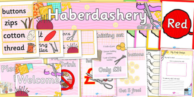 Haberdashery Role Play Pack - haberdashery, role-play, pack
