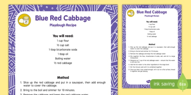 Natural Dye 'Blue' Red Cabbage Playdough Recipe