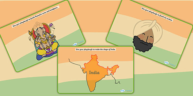 India Themed Playdough Mats - india, fine motor skills, country