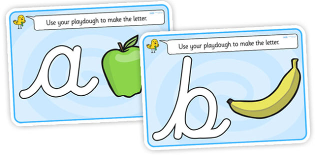 Alphabet Playdough Mats (cursive) - Playdough mat, playdough resources, literacy, alphabet, letters, playdough