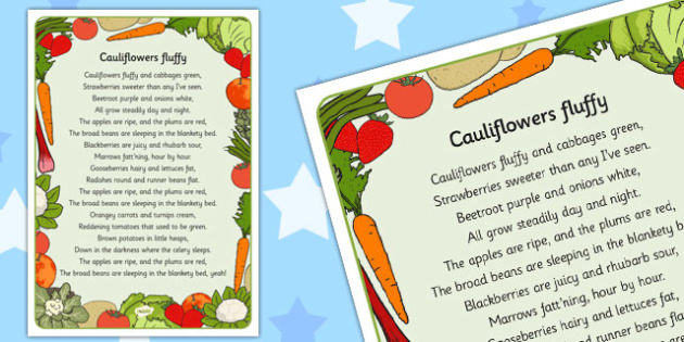 Cauliflowers Fluffy Lyrics Activity Sheet - cauliflower, fluffy, worksheet