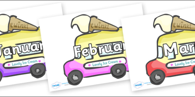 Months of the Year on Ice Cream Vans - Months of the Year, Months poster, Months display, display, poster, frieze, Months, month, January, February, March, April, May, June, July, August, September