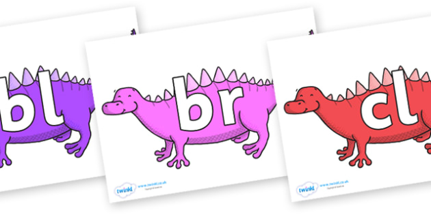 Initial Letter Blends on Scelidosaurus - Initial Letters, initial letter, letter blend, letter blends, consonant, consonants, digraph, trigraph, literacy, alphabet, letters, foundation stage literacy