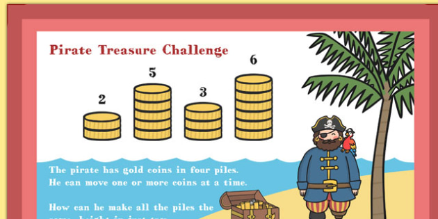 A4 KS1 Pirate Treasure Maths Challenge Poster - maths, challenge